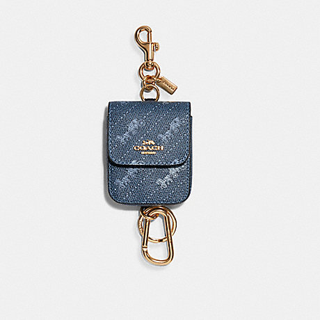 COACH C4305 MULTI ATTACHMENTS CASE BAG CHARM WITH HORSE AND CARRIAGE DOT PRINT IM/MIDNIGHT/SKY-BLUE