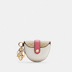 COACH C4306 - MINI SADDLE BAG CHARM IN SIGNATURE CANVAS IM/LIGHT KHAKI MULTI