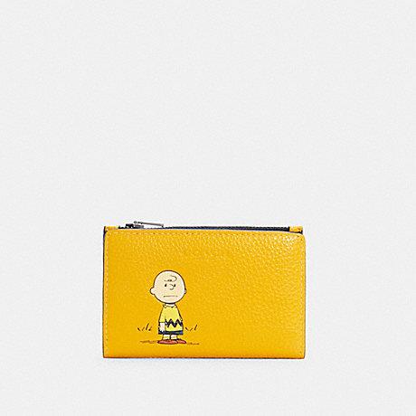 COACH C4307 COACH X PEANUTS SLIM BIFOLD CARD WALLET WITH CHARLIE BROWN QB/OCHRE MULTI