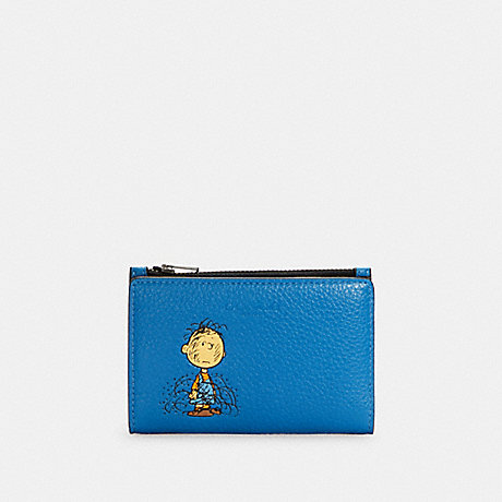 COACH C4307 COACH X PEANUTS SLIM BIFOLD CARD WALLET WITH CHARLIE BROWN QB/VIVID BLUE