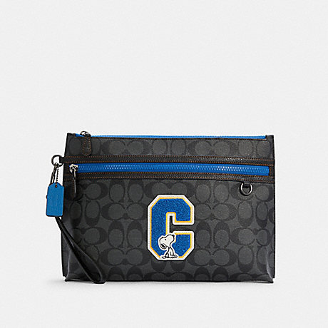 COACH C4308 COACH X PEANUTS CARRYALL POUCH IN SIGNATURE CANVAS WITH SNOOPY QB/CHARCOAL MULTI