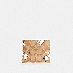 COACH X PEANUTS 3-IN-1 WALLET IN SIGNATURE CANVAS WITH SNOOPY PRINT - C4326 - QB/KHAKI MULTI