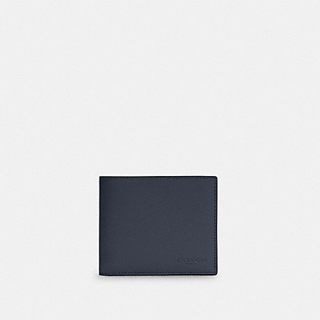 COACH C4333 3-IN-1 WALLET IN COLORBLOCK SIGNATURE CANVAS QB/MIDNIGHT NAVY CHARCOAL