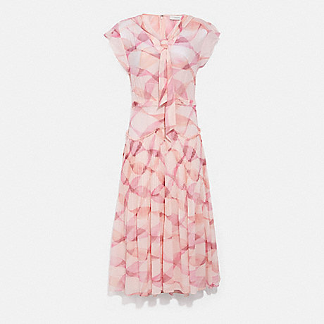 COACH C4350 PRINTED SLEEVELESS UPTOWN DRESS PINK/CORAL