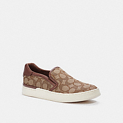 WELLS SLIP ON SNEAKER - KHAKI/SADDLE - COACH C4393