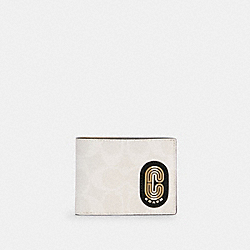 COACH C4412 - SLIM BILLFOLD WALLET IN COLORBLOCK SIGNATURE CANVAS WITH STRIPED COACH PATCH QB/CHALK MULTI