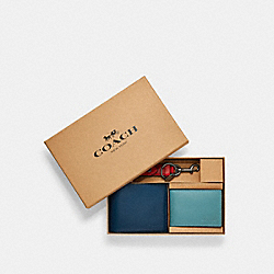 COACH C4425 - BOXED 3-IN-1 WALLET GIFT SET IN COLORBLOCK QB/JEWEL BLUE MULTI