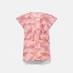 PRINTED RUFFLE BLOUSE - C4443 - PINK/CORAL