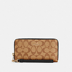 COACH C4452 - LONG ZIP AROUND WALLET IN SIGNATURE CANVAS IM/KHAKI/BLACK