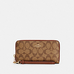 LONG ZIP AROUND WALLET IN SIGNATURE CANVAS - IM/KHAKI REDWOOD - COACH C4452