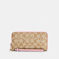 COACH C4452 - LONG ZIP AROUND WALLET IN SIGNATURE CANVAS IM/LIGHT KHAKI/BUBBLEGUM