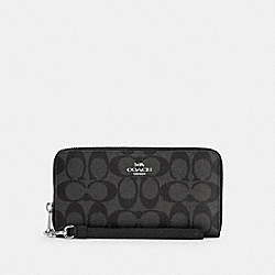 COACH C4452 - LONG ZIP AROUND WALLET IN SIGNATURE CANVAS SV/BLACK SMOKE BLACK