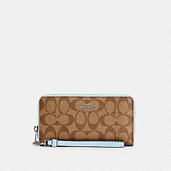 COACH C4452 Long Zip Around Wallet In Signature Canvas SV/KHAKI/WATERFALL