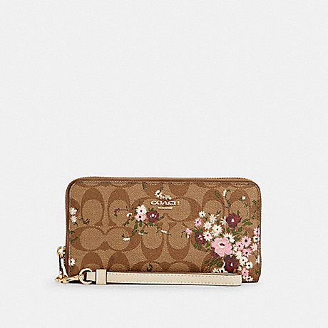 COACH C4456 LONG ZIP AROUND WALLET IN SIGNATURE CANVAS WITH EVERGREEN FLORAL PRINT IM/KHAKI MULTI