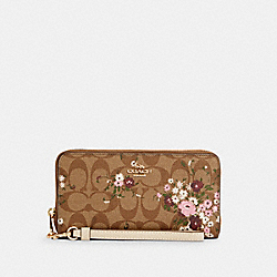 LONG ZIP AROUND WALLET IN SIGNATURE CANVAS WITH EVERGREEN FLORAL PRINT - IM/KHAKI MULTI - COACH C4456