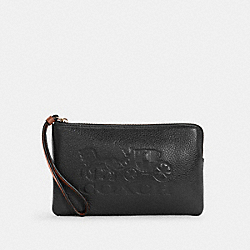 COACH C4464 - LARGE CORNER ZIP WRISTLET WITH HORSE AND CARRIAGE IM/BLACK/REDWOOD