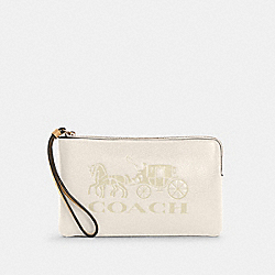 COACH C4464 - LARGE CORNER ZIP WRISTLET WITH HORSE AND CARRIAGE IM/CHALK/VANILLA CREAM