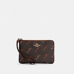 COACH C4466 Corner Zip Wristlet With Horse And Carriage Dot Print IM/BLACK