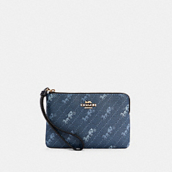 COACH C4466 - CORNER ZIP WRISTLET WITH HORSE AND CARRIAGE DOT PRINT IM/DENIM