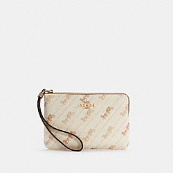 COACH C4466 - CORNER ZIP WRISTLET WITH HORSE AND CARRIAGE DOT PRINT IM/CREAM