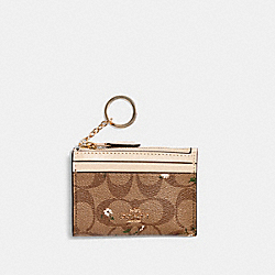 COACH C4476 - MINI SKINNY ID CASE IN SIGNATURE CANVAS WITH EVERGREEN PRINT IM/KHAKI MULTI