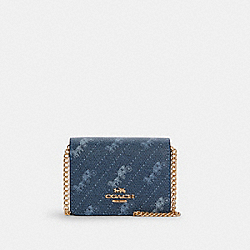 COACH C4477 - MINI WALLET WITH HORSE AND CARRIAGE DOT PRINT IM/DENIM
