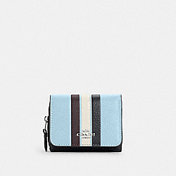 SMALL TRIFOLD WALLET IN COLORBLOCK WITH STRIPE - C4525 - SV/WATERFALL MIDNIGHT MULTI