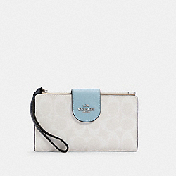 COACH C4528 - TECH WALLET IN COLORBLOCK SIGNATURE CANVAS SV/WATERFALL MIDNIGHT MULTI