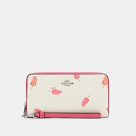 COACH C4530 LONG ZIP AROUND WALLET WITH POPSICLE PRINT SV/CHALK MULTI
