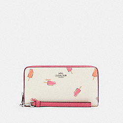LONG ZIP AROUND WALLET WITH POPSICLE PRINT - C4530 - SV/CHALK MULTI