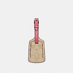 LUGGAGE TAG IN SIGNATURE CANVAS - C4541 - IM/LIGHT KHAKI/CONFETTI PINK