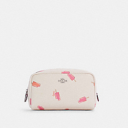 SMALL BOXY COSMETIC CASE WITH POPSICLE PRINT - C4551 - SV/CHALK MULTI