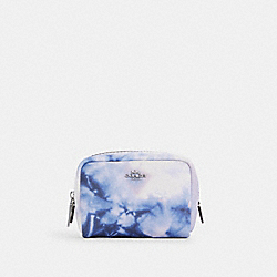 COACH C4553 Mini Boxy Cosmetic Case With Tie Dye Print SV/PURPLE/PINK MULTI