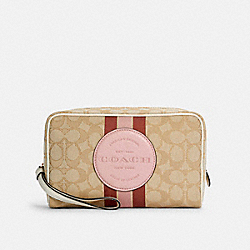 COACH C4582 Dempsey Boxy Cosmetic Case 20 In Signature Jacquard With Stripe And Coach Patch IM/LT KHAKI /POWDER PINK MULTI
