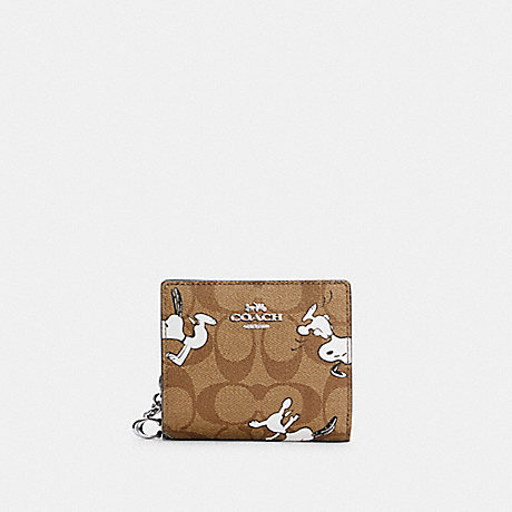COACH C4591 COACH X PEANUTS SNAP WALLET IN SIGNATURE CANVAS WITH SNOOPY PRINT SV/KHAKI MULTI