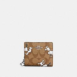 COACH X PEANUTS SNAP WALLET IN SIGNATURE CANVAS WITH SNOOPY PRINT - C4591 - SV/KHAKI MULTI