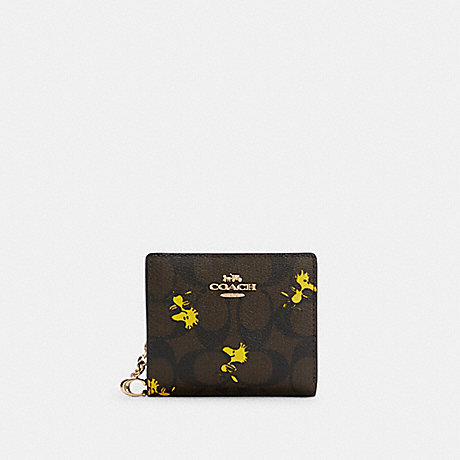 COACH C4592 COACH X PEANUTS SNAP WALLET IN SIGNATURE CANVAS WITH WOODSTOCK PRINT IM/BROWN BLACK MULTI