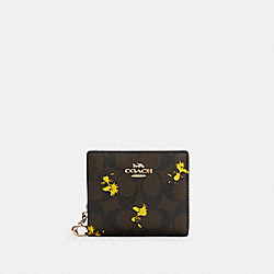 COACH X PEANUTS SNAP WALLET IN SIGNATURE CANVAS WITH WOODSTOCK PRINT - C4592 - IM/BROWN BLACK MULTI