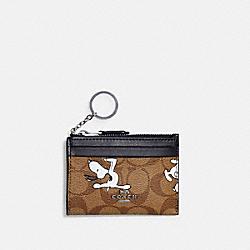 COACH C4593 Coach X Peanuts Mini Skinny Id Case In Signature Canvas With Snoopy Print SV/KHAKI MULTI