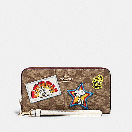 COACH C4598 COACH X PEANUTS LONG ZIP AROUND WALLET IN SIGNATURE CANVAS WITH VARSITY PATCHES IM/KHAKI MULTI