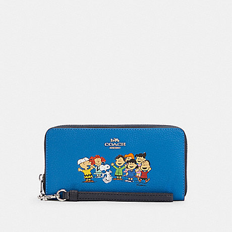 COACH C4603 COACH X PEANUTS LONG ZIP AROUND WALLET WITH SNOOPY AND FRIENDS SV/VIVID BLUE