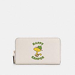 COACH C4604 Coach X Peanuts Medium Id Zip Wallet With Woodstock IM/CHALK MULTI