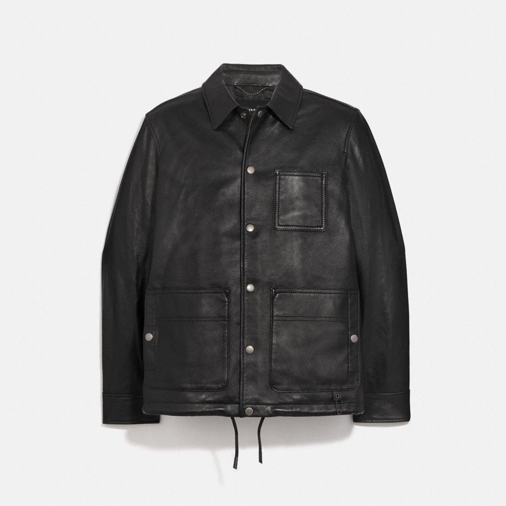 口袋設計皮革夾克