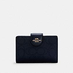COACH C4768 Medium Corner Zip Wallet In Signature Leather IM/MIDNIGHT