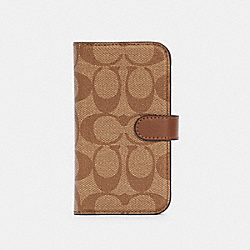 IPHONE 12 MINI FOLIO IN SIGNATURE CANVAS - KHAKI - COACH C5089