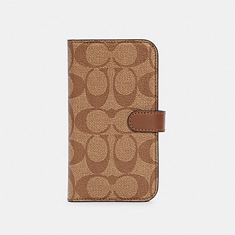 COACH C5090 IPHONE 12 FOLIO IN SIGNATURE CANVAS KHAKI