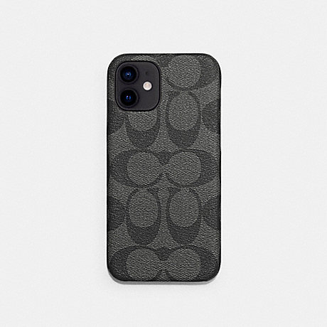 COACH C5093 IPHONE 12 CASE IN SIGNATURE CANVAS CHARCOAL