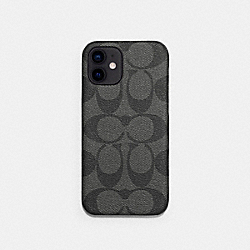 IPHONE 12 CASE IN SIGNATURE CANVAS - CHARCOAL - COACH C5093
