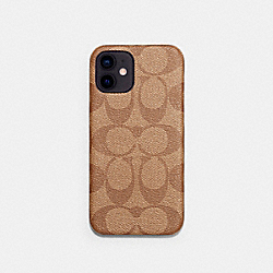 IPHONE 12 CASE IN SIGNATURE CANVAS - KHAKI - COACH C5093