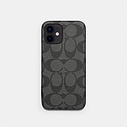 IPHONE 12 PRO MAX CASE IN SIGNATURE CANVAS - CHARCOAL - COACH C5094